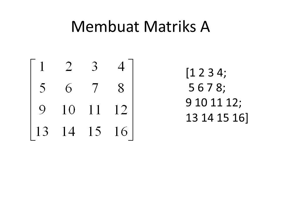 Membuat Matriks A [1 2 3 4; 5 6 7 8; 9 10 11 12; 13 14 15 16]